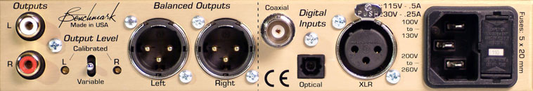 Rear panel view of the Benchmark DAC 1