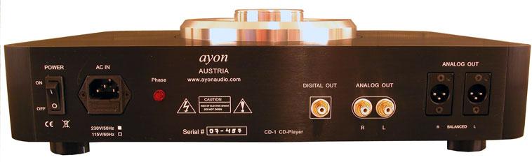rear panel of Ayon Audio CD-1 CD Player