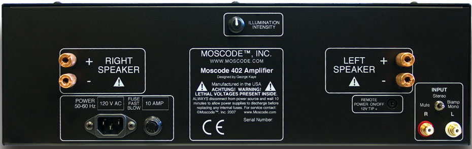 Rear view of Moscode 402Au Amplifier