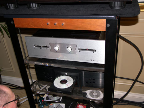 Rack containing C.A.T. SL1 Legend Preamplifier and Audio Aero LaSource