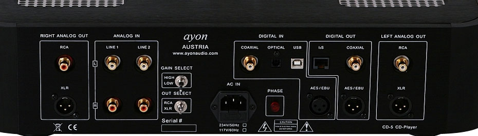 Close of rear panel of the Ayon CD-5 Reference CD Player