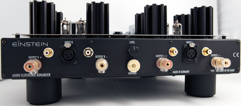Rear view of Einstein Audio The Light In The Dark stereo power amplifier