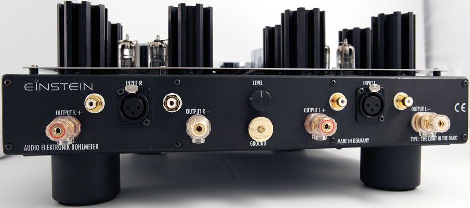 Rear view of Einstein Audio The Light In The Dark stereo power amplifier