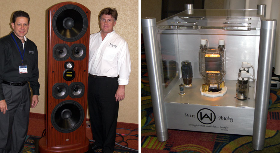 Doug Brown (left) and designer Bill Dudleston (right) with Legacy Whisper XD	Win Analog S Series Monoblock