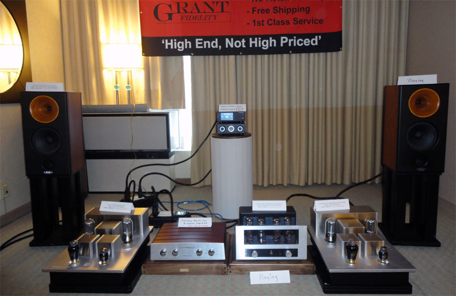 Grant Fidelity room showing (from left) Sheng Ya V218 Horn Booksehelves with stands, Consonance Cyber 880 Tube Power Amp, Consonance Reference 50 MkII Tube Preamp, Consonance D-Linear 7 HD Music Interface with D-Linear 8 HD Wireless D/A Converter (on pedestal), Grant Fidelity @30GT Amp. #1728 Grant Fidelity @30GT Amp