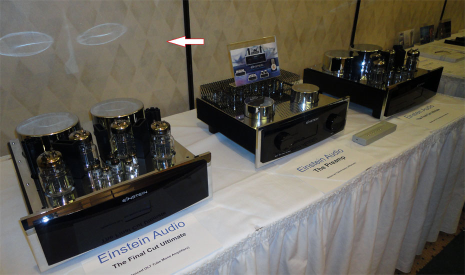 Einstein Audio components on static display. Note the comical reflections forming a face!