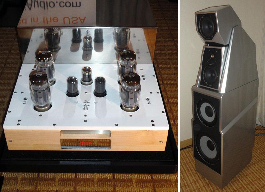 Left: Doshi Jhor Monoblock Tube Amplifier; right: Wilson Audio Maxx 3 speaker
