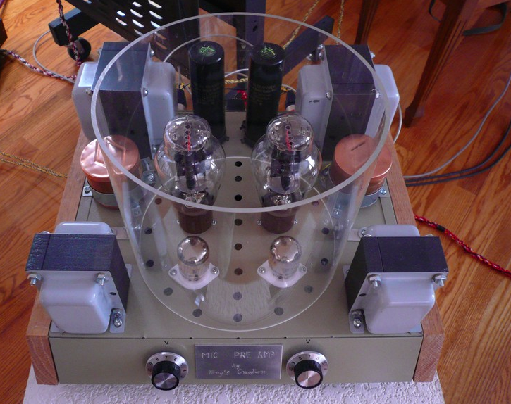 A custom-made microphone preamp based on the WE437A input tube and WE300B output tube