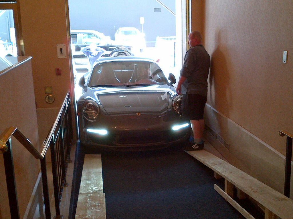 Porche driving inside TAVES