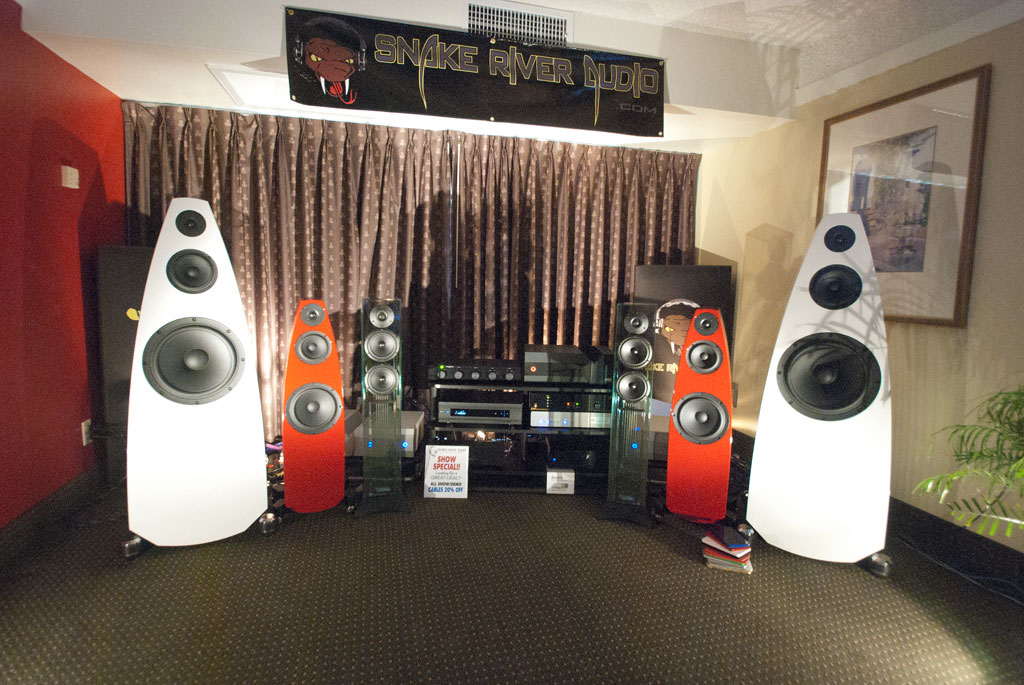 Sweet Spot Audio from Arizona but opening a shop Southern California - Emme speakers (red and white) - Waterfall speakers (clear glass) - Snake River Audio - Aragon - Acurus