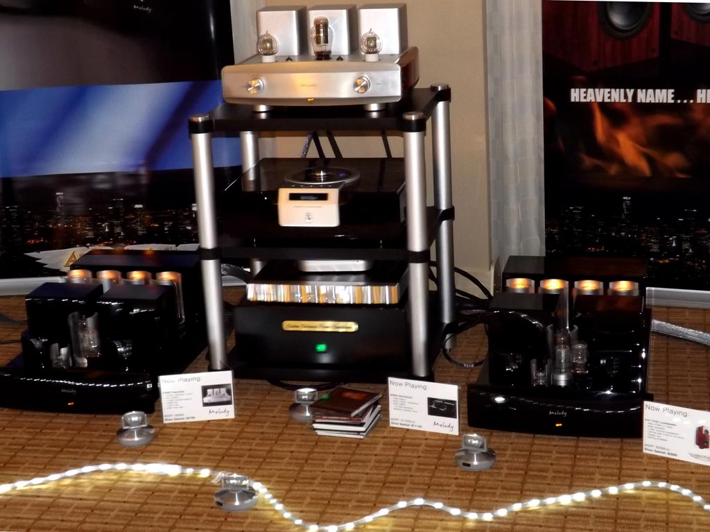 Melody Audio MN845 150W Class A monoblocks, P2688 tube preamplifer, Ayon CD player at RMAF 2013