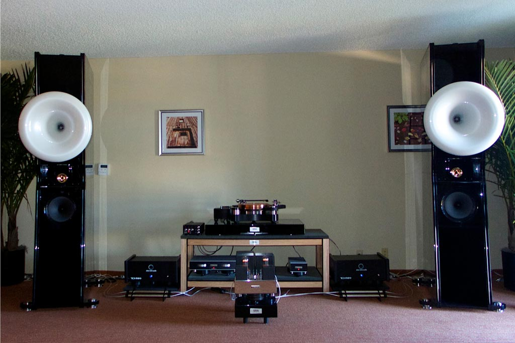 Jeff Catalano's High Water Sound room. They were using Liszt speaker from Cessaro Horn Acoustics with a Tron-Electric amp and preamp, and the TW-Acoustics' Raven Anniversary SE turntable