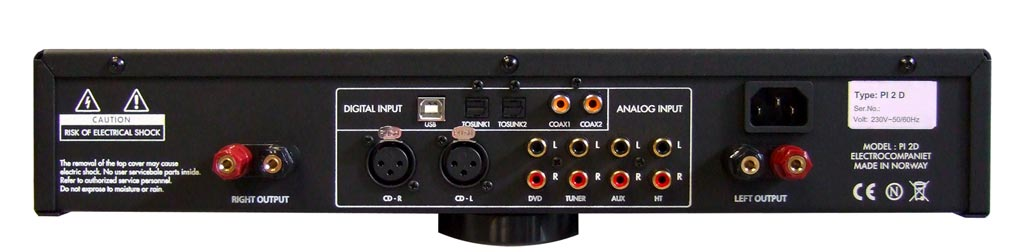 Electrocompaniet PI 2D Prelude Integrated Amplifier Rear Panel