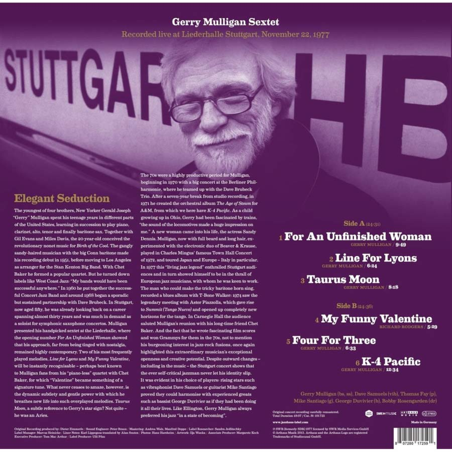 Gerry Mulligan Sextet - Vinyl in print from Jazz Haus - Back Cover of Vinyl