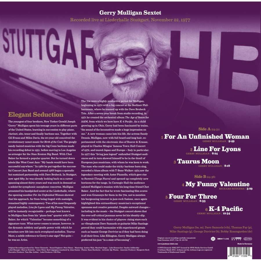 Gerry Mulligan Sextet - Vinyl in print from Jazz Haus - Back Cover of Vinyl