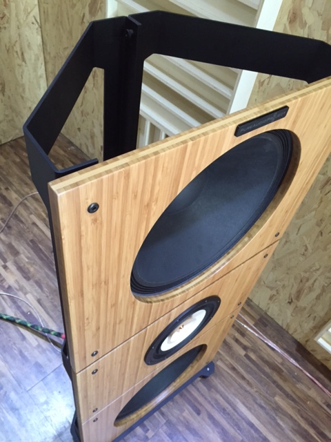 Trio15TB with New Alu Frame Open Baffle Speakers by PureAudioProject Up View